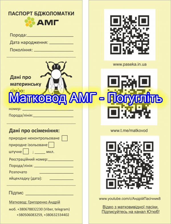 Паспорт бджоломатки АМГ, (наш паспорт маток), паспорт відповідності матки